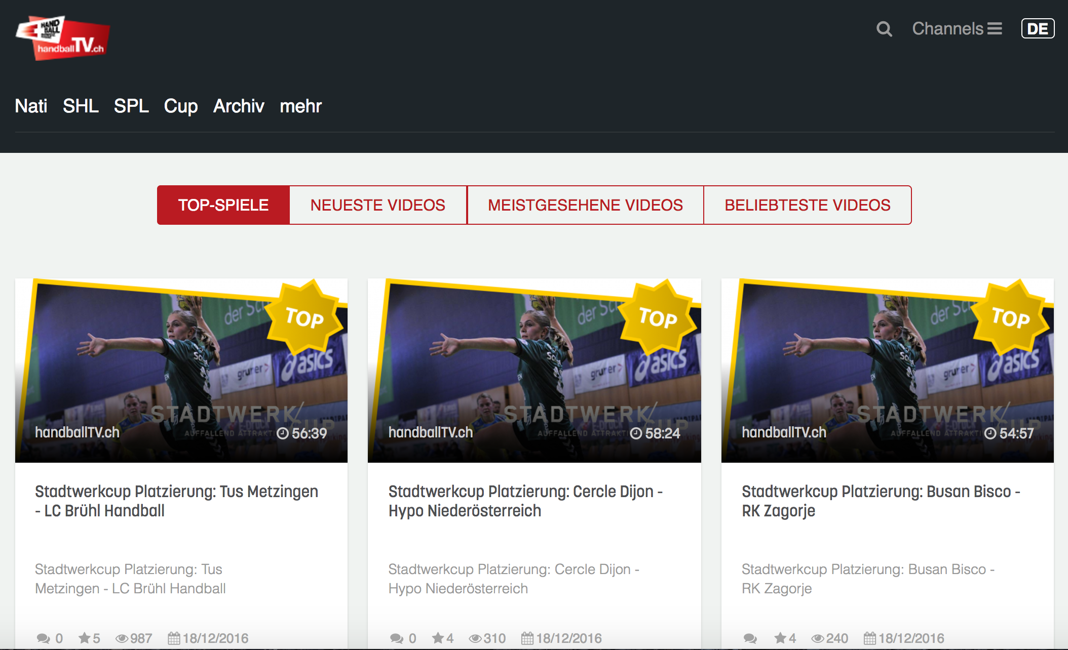 Startseite handballTV.ch